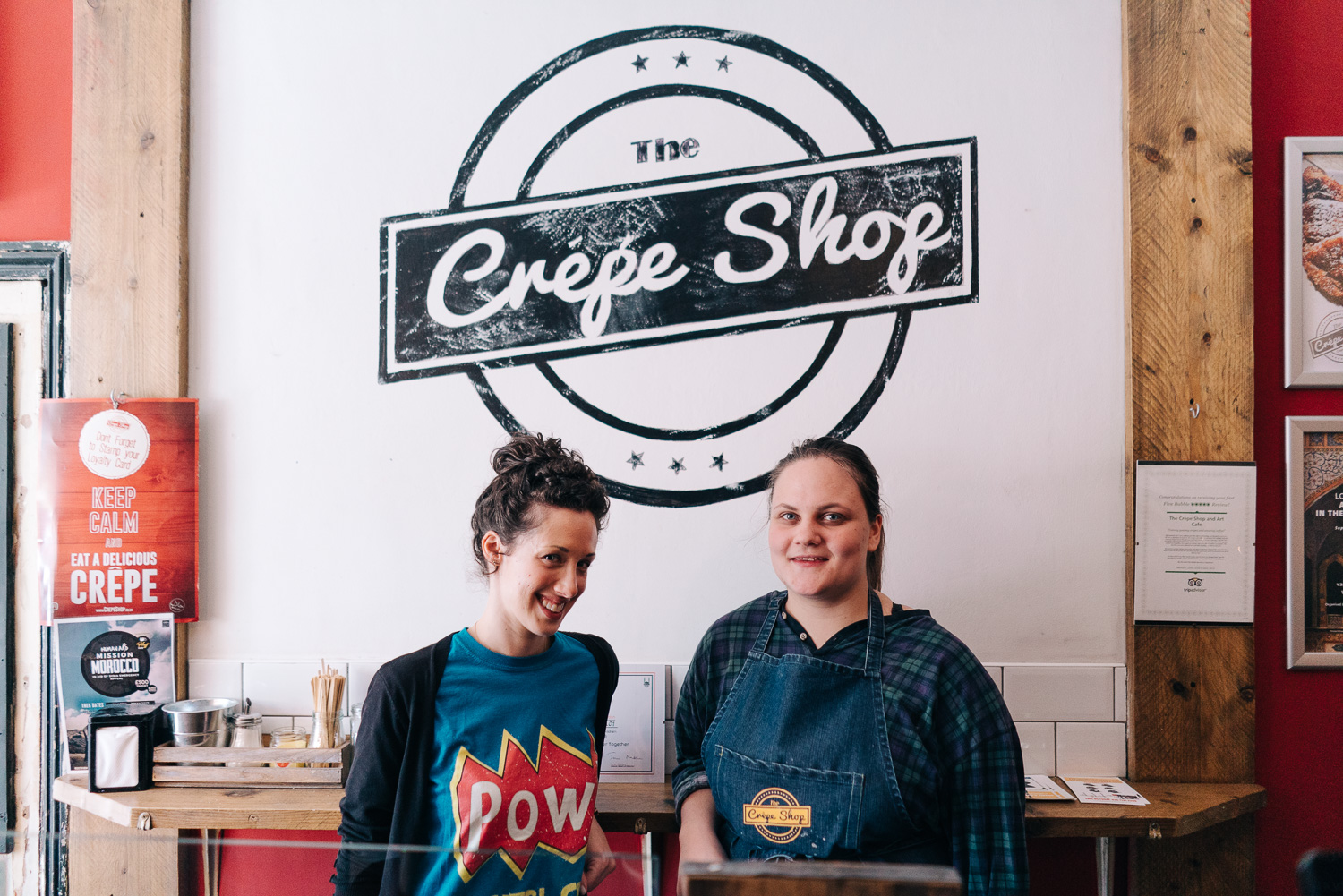 The Crepe Shop business owner in Whitechapel receiving social media MOT from digital mentor.